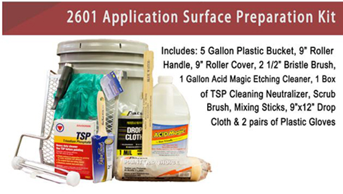 Swimming pool and concrete deck surface preparation kit for Trisodium phosphate for cleaning concrete